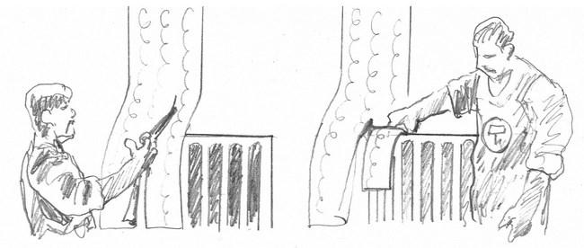 applicazione carta da parati dietro termosifoni